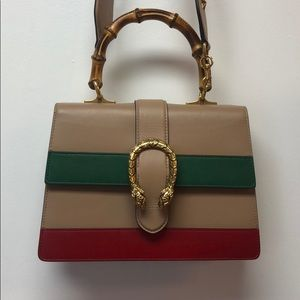 Gucci Beige/Red/Green Leather Dionysus